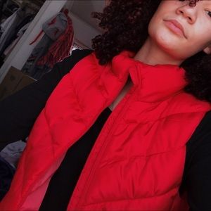 Bright red puffer vest